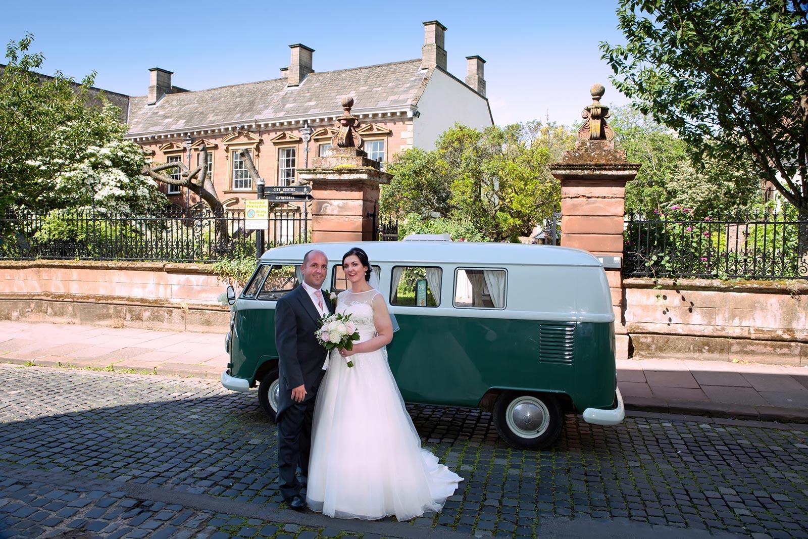 Wedding Couple Photographed by Keltic Rose Photography outside Tullie House Museum Carlisle