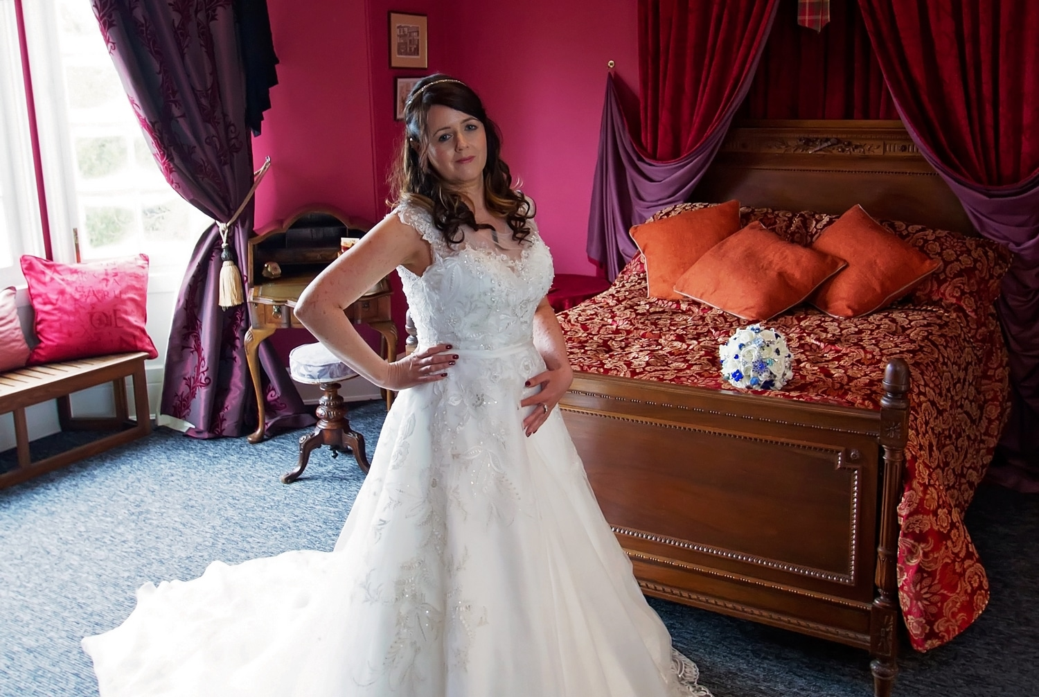 Bride stood up in wedding dress