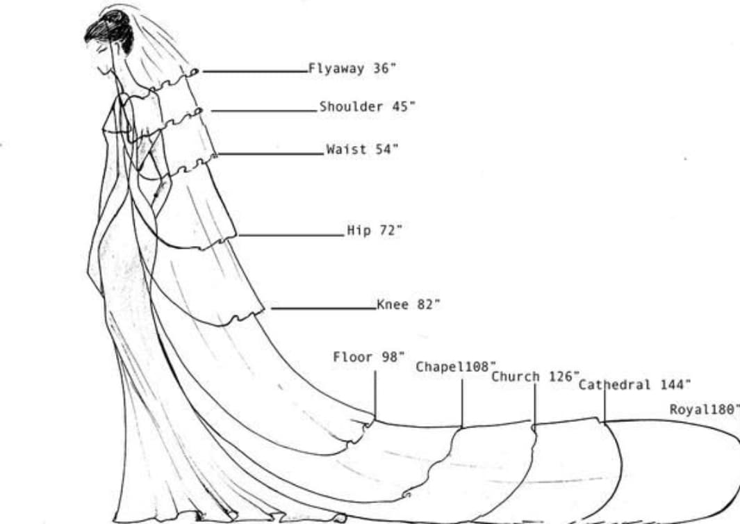Drawing showing the names for veils of different lengths