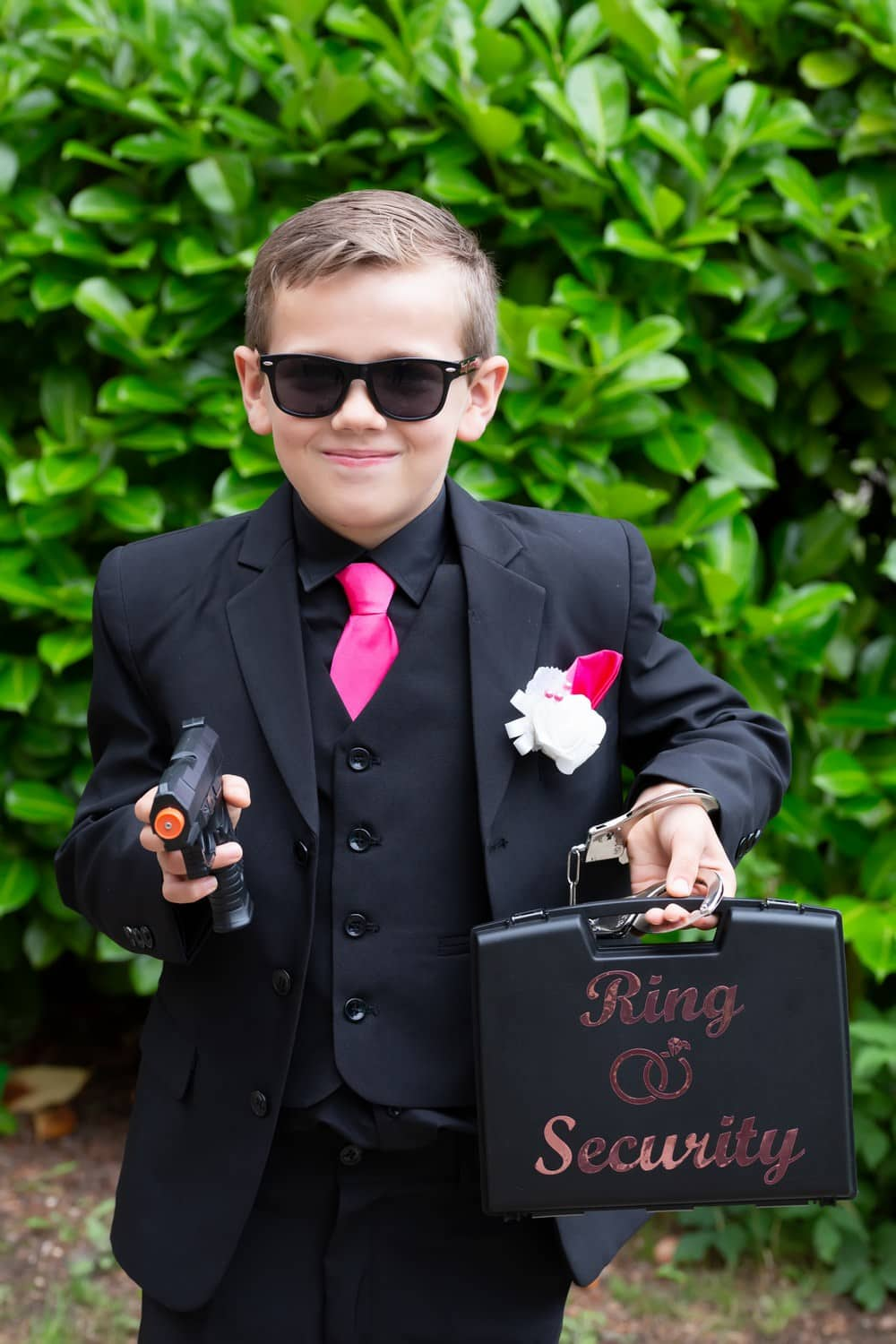 Ring Bearer with a gun at Carlisle Registry Office