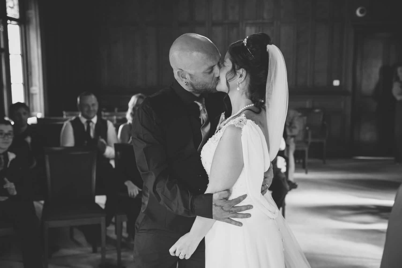 Bride and Groom kissing at Carlisle Registry Office