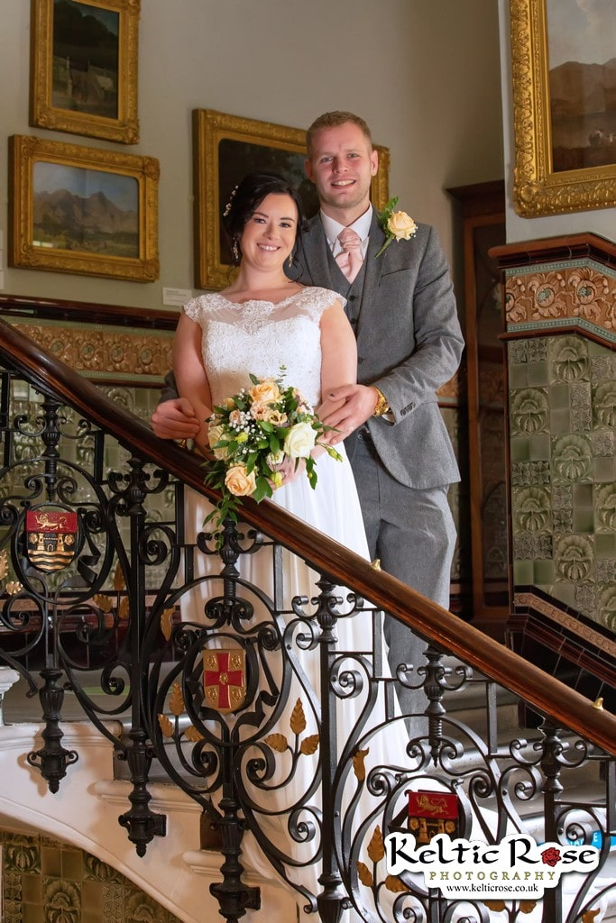 Bride and Groom standing on Stairs at Tullie House Museum