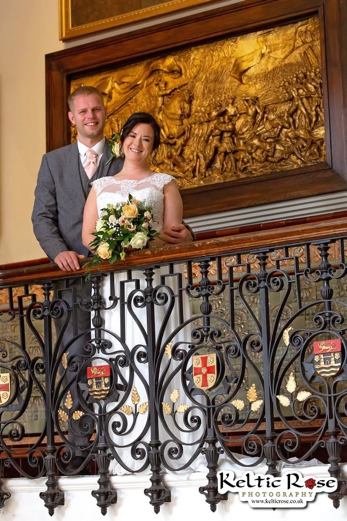 Wedding Couple at Tullie House Museum Carlisle with Flowers