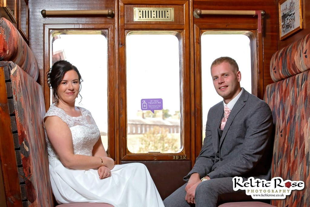 Bride and Groom in a railway carriage in Tullie House Carlisle