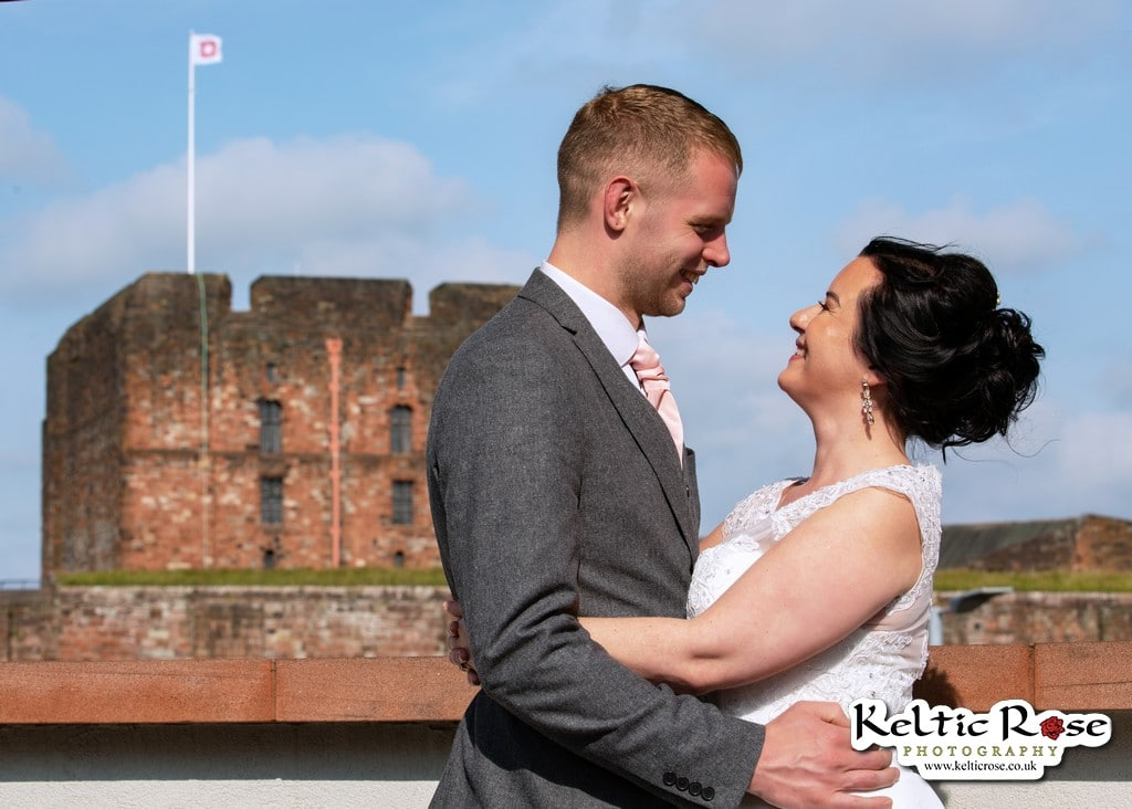 Wedding Photo taken at Tullie House Museum and Art Gallery overlooking Carlisle Castle