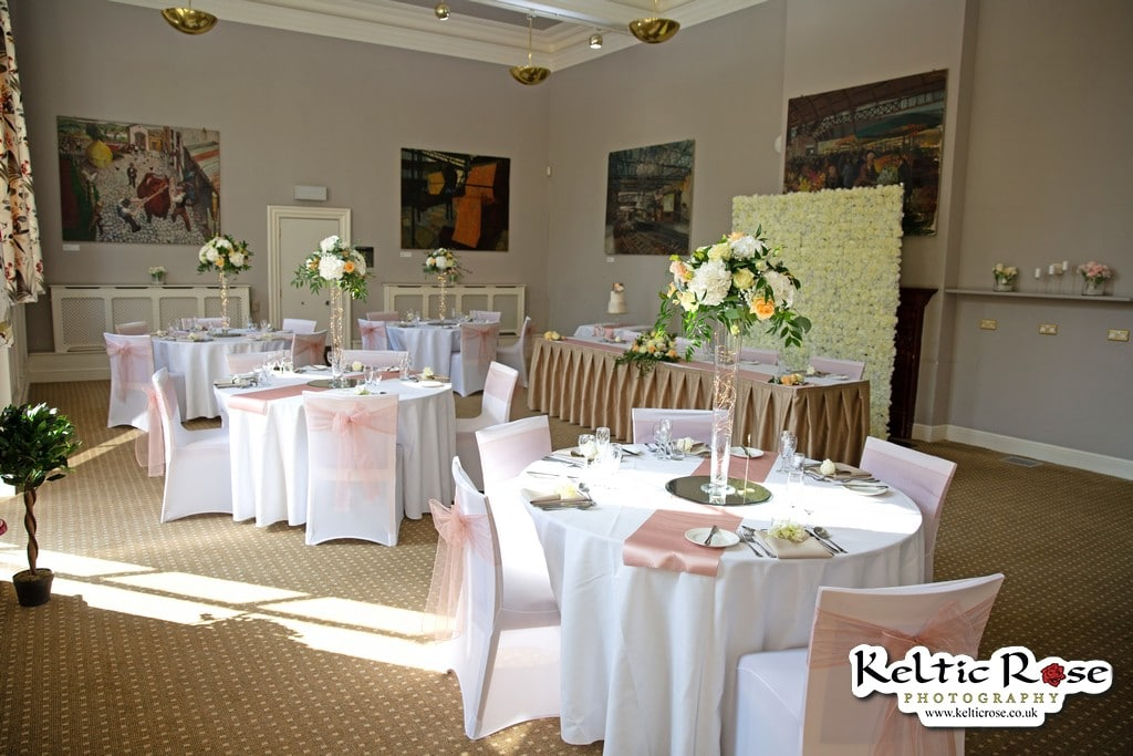 Tullie House Museum and Art Gallery function room set up for a wedding