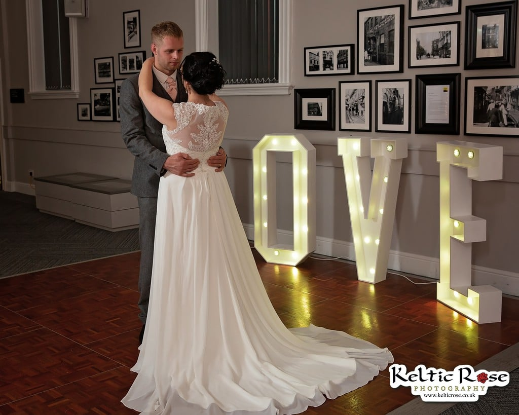 Wedding couple photographed by Keltic Rose Photography at Tullie House Museum and Art Gallery