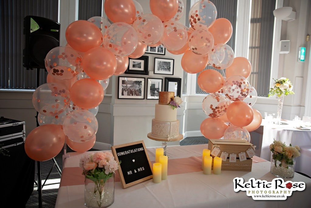 Balloon arch and Wedding cake at Tullie House Museum and Art Gallery