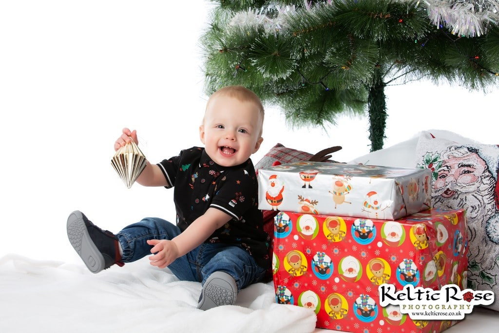 Little boy at Christmas Photo Session at Keltic Rose Photography Studio