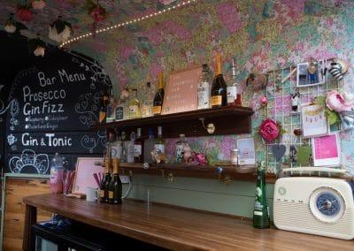 Inside the horsebox bar